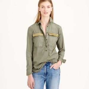 💕🌵J. Crew Olive Green Popover Shirt Size Small